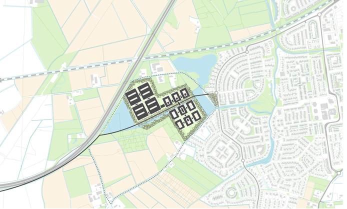 De plek die de gemeente Roosendaal aandraagt voor nieuwbouw Bravis. De donkere streep parallel aan de snelweg is de ontsluitingsweg.
