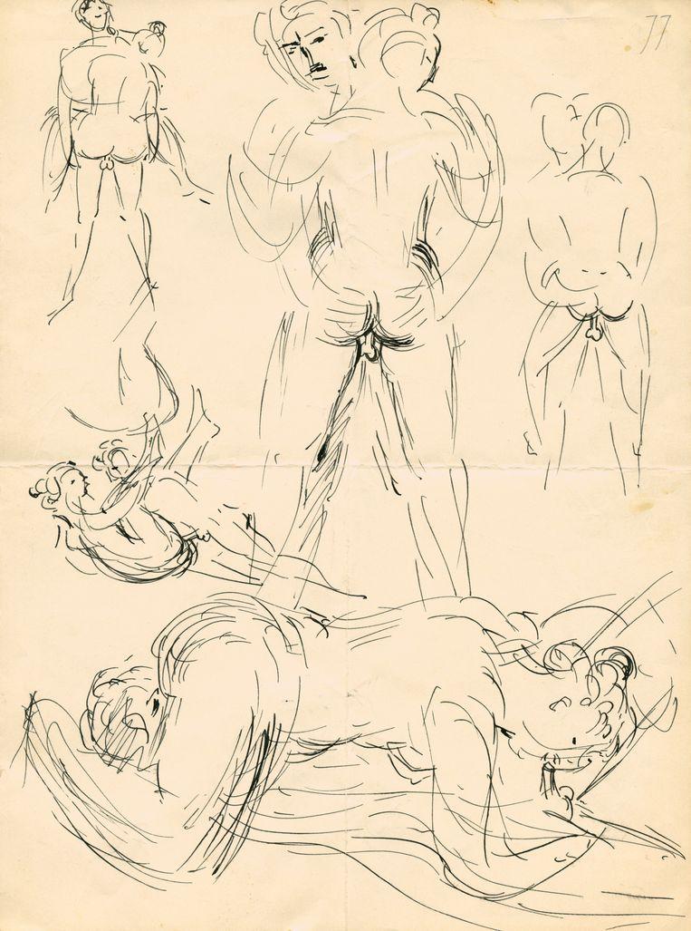 Tekeningen die Wolkers vanuit Parijs stuurde aan Annemarie Nauta, met voorbeelden van wat hij na hun hereniging met haar ging doen. Beeld Privé-archief Jan Wolkers