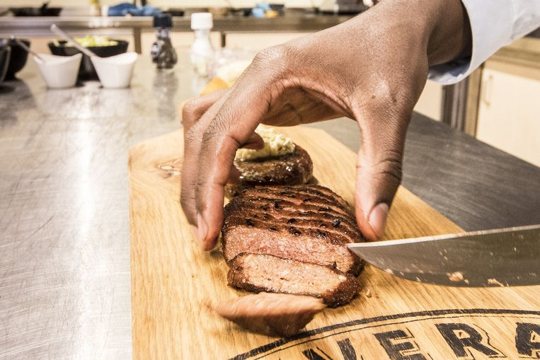 De eerste vega-biefstuk ter wereld.