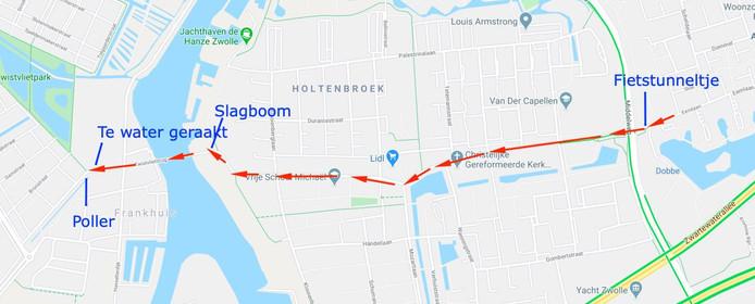 De route die een zwarte personenbus in Zwolle nam, maandagochtend. De rit eindigde in het water.
