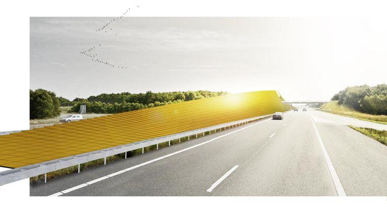 Schets voor een `zonneroute' A37 tussen Klazienaveen en Hoogeveen. Beeld Studio Marco Vermeulen