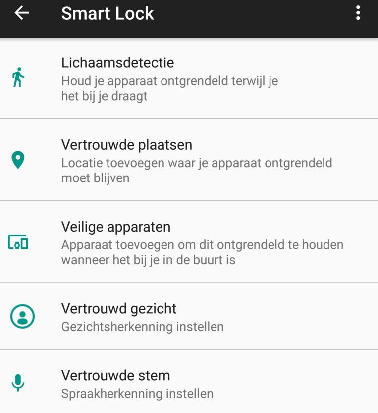 Met Smart Lock laat je je telefoon bijvoorbeeld thuis ontgrendeld.