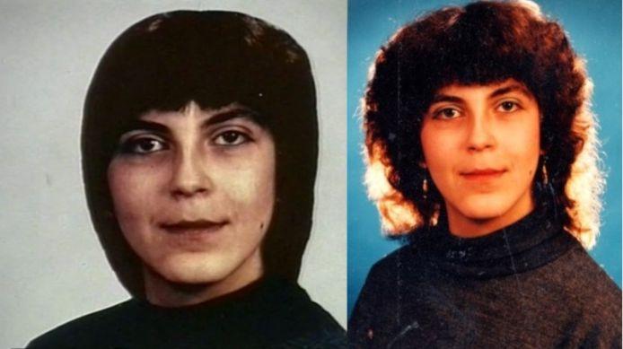 Rechts de foto die in 1993 door de politie werd verspreid van Judit Nyari. Links een foto waarop zij een ander kapsel draagt, die onlangs werd verspreid door de politie om de coldcasezaak nieuw leven in te blazen.