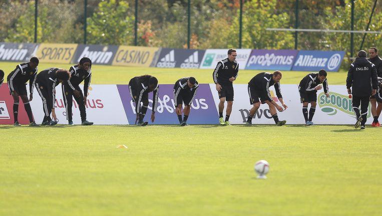 Een training van het Belgische voetbalelftal. Beeld afp