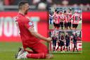 Voor de promovendi viel al veel te juigen. Groot: Haris Vuckic (FC Twente). Inzetjes: tevreden spelers van Sparta (boven) en RKC (onder).