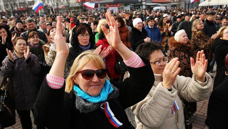 Pro-Russische demonstranten op de Krim. Beeld getty
