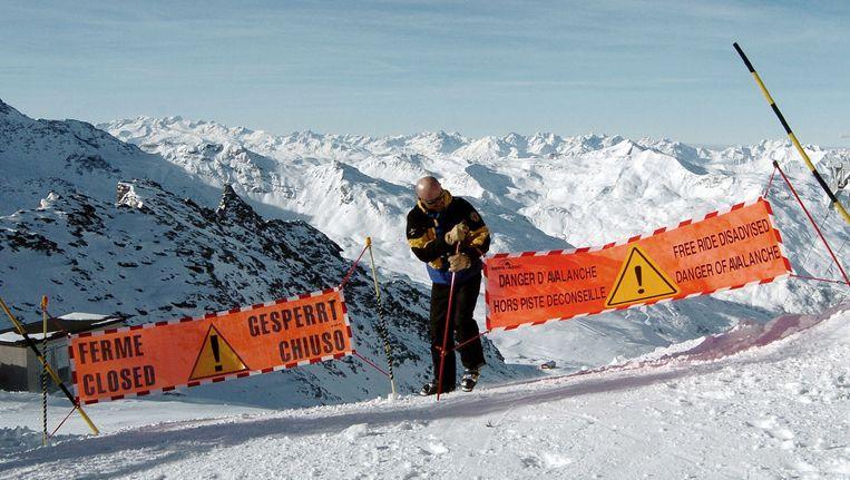 Een gesloten piste in Val Thorens. Beeld AFP