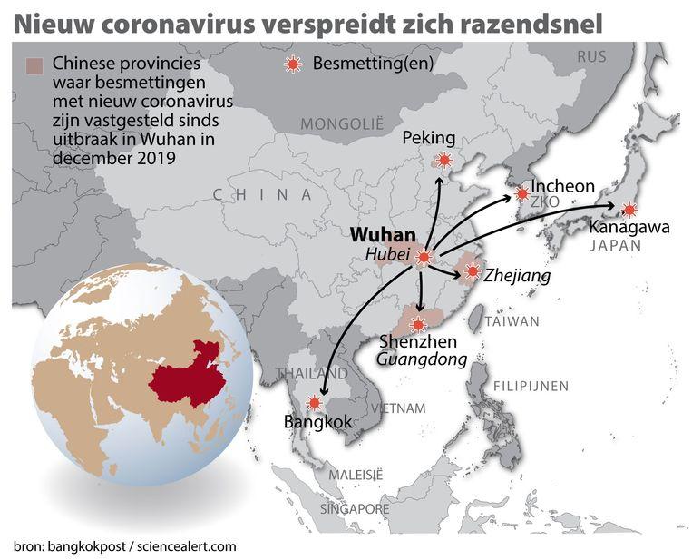 Het nieuwe coronavirus verspreidt zich razendsnel. Hierbij een kaart China met locatie Wuhan en gebieden waar besmettingen zijn vastgesteld.