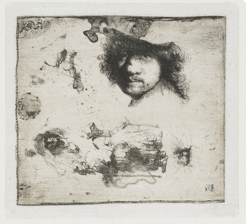 Rembrandt, Studieblad met zelfportret. Ets, 1630-1634, Rijksmuseum.