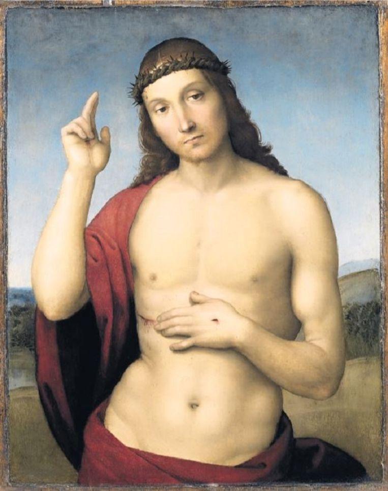 Het beeldmerk van de expositie: Rafaël, 'Zegenende Christus', 32 x 25 cm, 1505, collectie Pinacoteca Tosio Martinengo, Brescia. Beeld Trouw