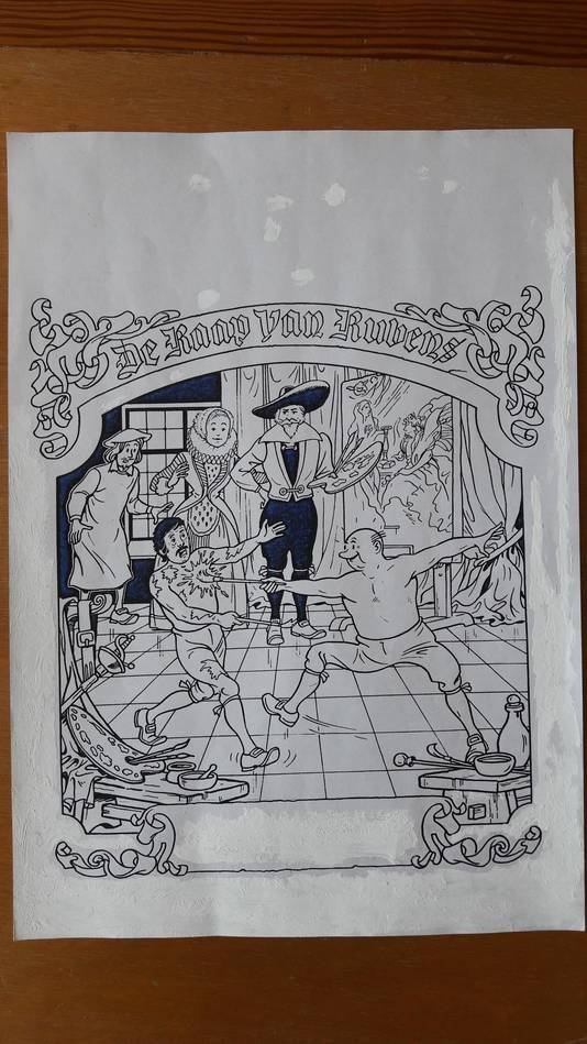 De kopie die Wim van der Veeken kreeg van de afgekeurde kaft van Suske en Wiske De Raap van Rubens