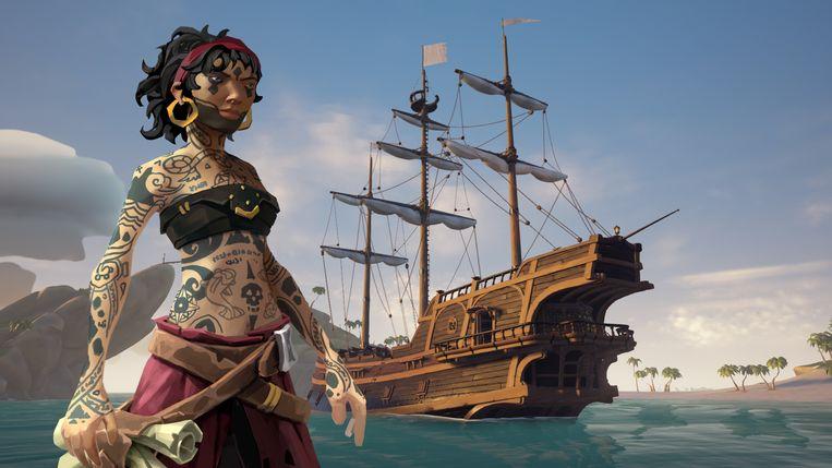 Beeld uit het piratenspel Sea of Thieves, dat alleen te spelen is op de Xbox en Windows-pc's Beeld Microsoft