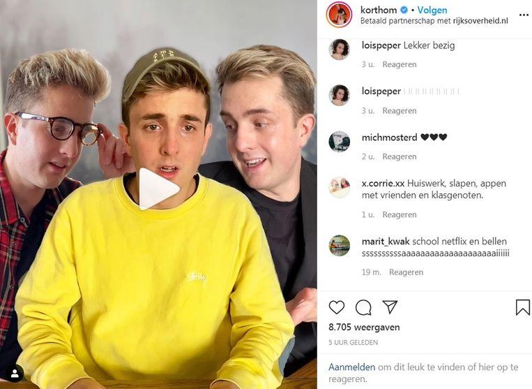 YouTuber korthom heeft via 'een betaald partnerschap' met Rijksoverheid.nl een filmpje op zijn Instagrampagina geplaatst waarin hij de maatregelen van het kabinet promoot. Beeld Screenshot Instagram
