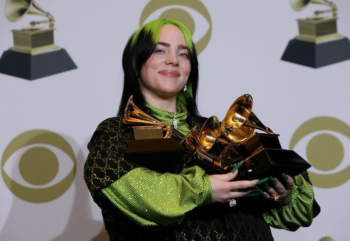 Billie Eilish au Grammy Awards, où elle a remporté six trophées.