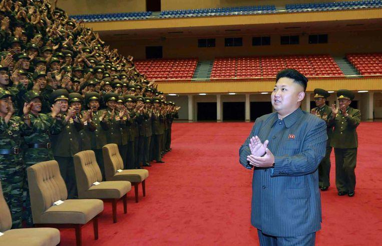 Eén van de laatste foto's van Kim Jong-Un die zijn vrijgegeven voor hij verdween wegens 'een ongemak' Beeld anp