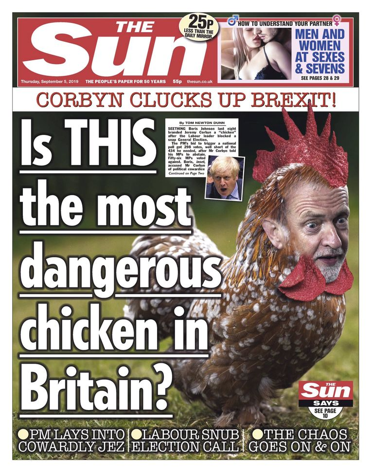 """""""Is dit de gevaarlijkste kip van Engeland?"""" vroeg 'The Sun' zich donderdag af - 'chicken' betekent in het Engels ook 'lafaard'."""