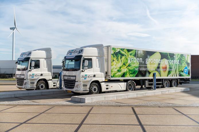 Transportbedrijven Simon Loos en Peter Appel gaan supermarkten bevoorraden met elektrische trucks van DAF.