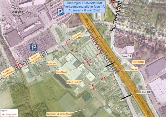 In de eerste fase moet het verkeer rondrijden via de parking van Euroshop