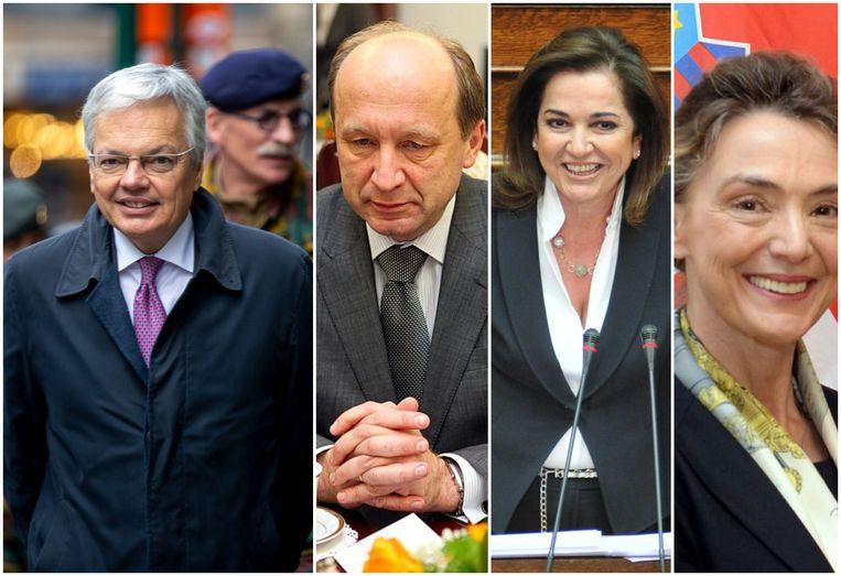 Minister van Buitenlandse Zaken Didier Reynders (l.) krijgt drie concurrenten voor de hoogste post bij de Raad van Europa: vlnr. Andrius Kubilius, Dora Bakoyannis en Marija Pejcinovic Buric.