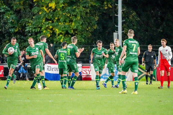 De  Graafschap viert de 1-1 tegen Jong FC Utrecht.