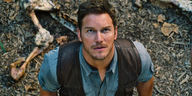 Chris Pratt in Jurassic World. Beeld