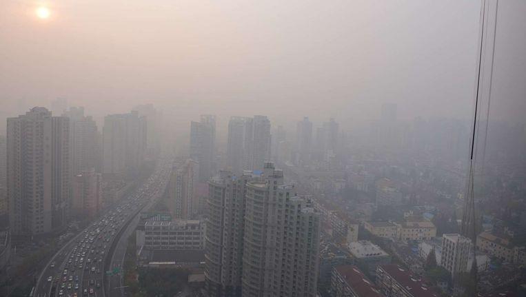 De luchtvervuiling in Shanghai piekte in december vorig jaar.