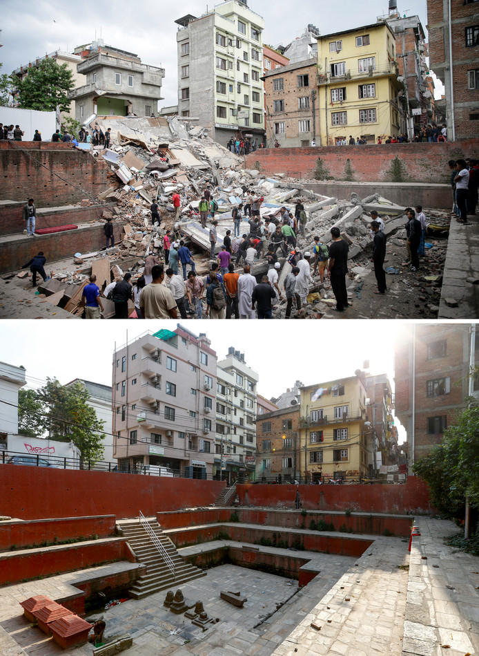 Negen doden vielen er toen het toeristenhotel op de bovenste foto in Kathmandu instortte, Het is inmiddels herbouwd.