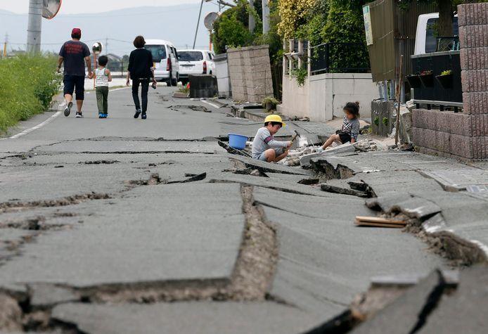 Kumamoto na de aardbeving van 16 april 2016.