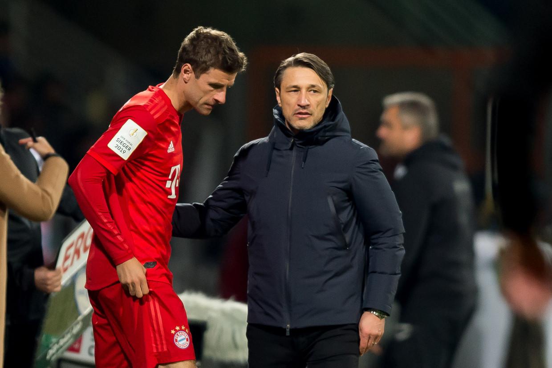 Thomas Müller (links) zat onder trainer Niko Kovac (rechts) meer op de bank dan hem lief is.
