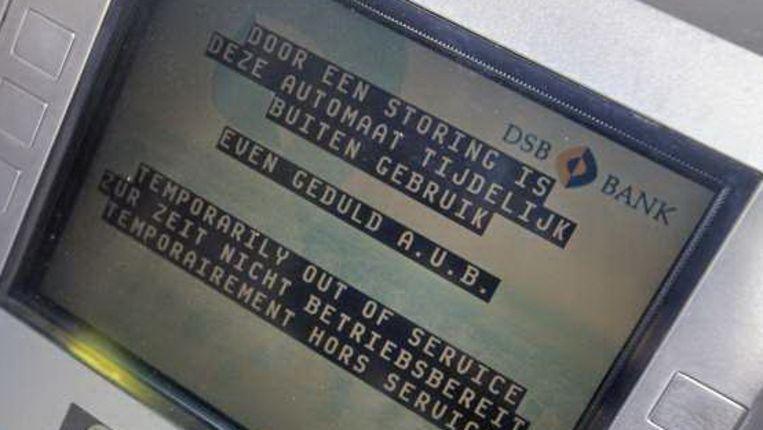 Een pinautomaat van de DSB-bank in Wognum is dinsdag buiten gebruik (ANP) Beeld