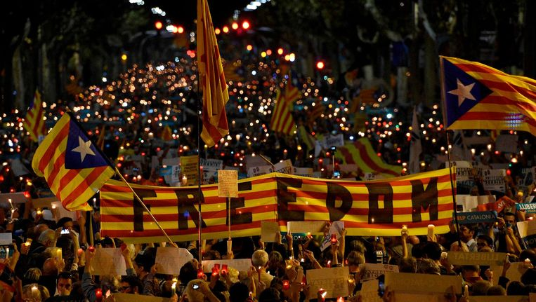 Protest in Barcelona Beeld afp