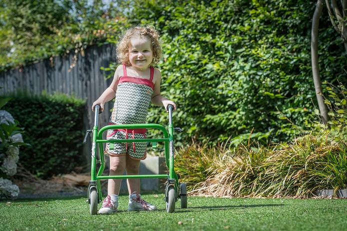 Vrolijke Dirkje is nu 3 en oefent in de tuin van het Ulvenhoutse gezin Van Groesen met haar rollator. Ze heeft de levensbedreigende spierziekte SMA, maar weer een toekomst dankzij het peperdure geneesmiddel Spinraza dat nu voor meer kinderen vergoed gaat worden.