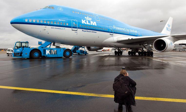 Een KLM-toestel dat vliegt op biokerosine.  Beeld ANP