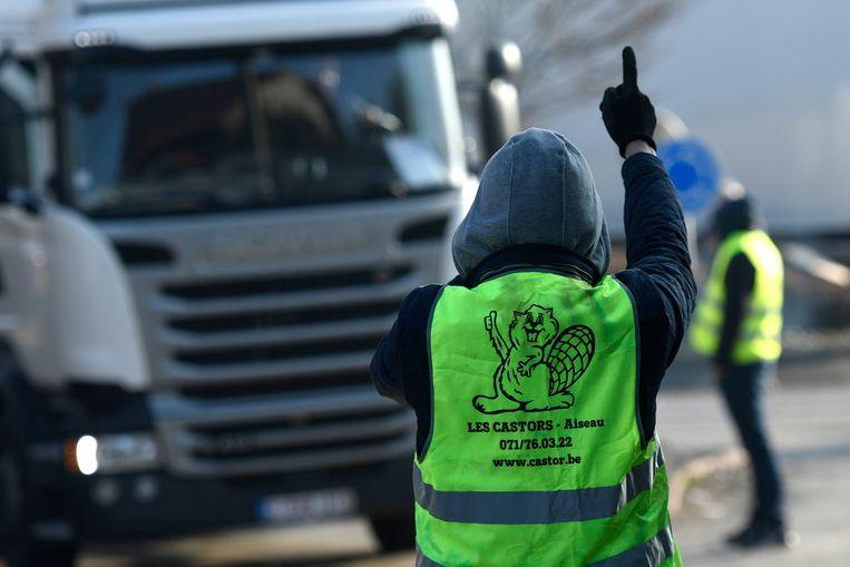Vanmorgen werd de industriezone in Courcelles geblokkeerd door de 'gele hesjes'.