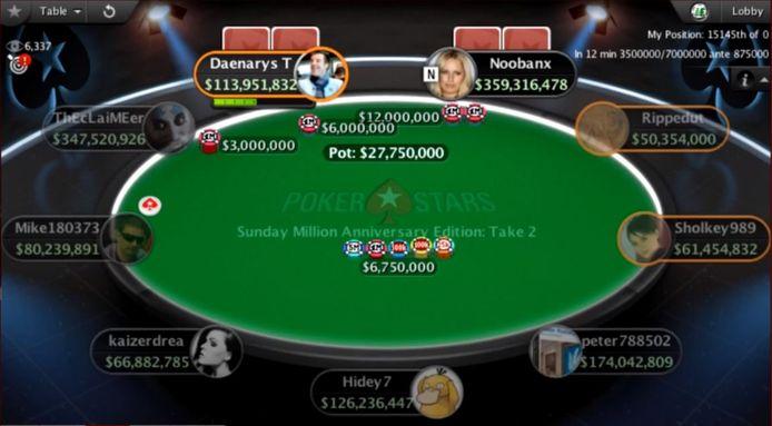 De virtuele tafel van Pokerstars