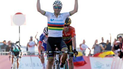 Valverde wint derde rit in UAE Tour, eerste zege voor Spanjaard in regenboogtrui