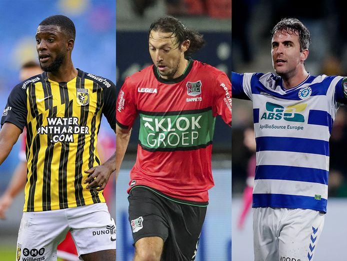 Eredivisie-speler Riechedly Bazoer (Vitesse) en eerste divisiespelers Edgar Barreto (NEC) en  Ralf Seuntjens (De Graafschap).