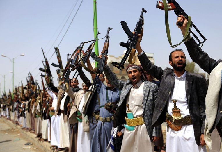 Houthi rebels in Sanaa. Beeld AFP