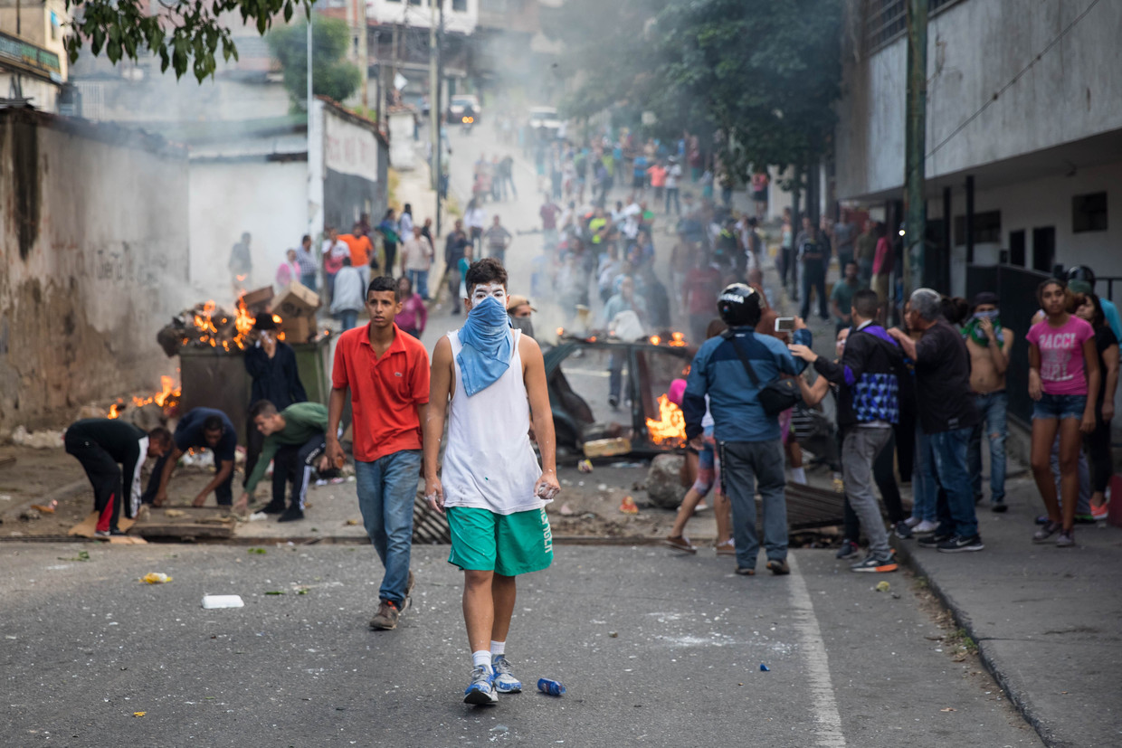 Demonstratie in Venezuela na de couppoging van Juan Guaidó