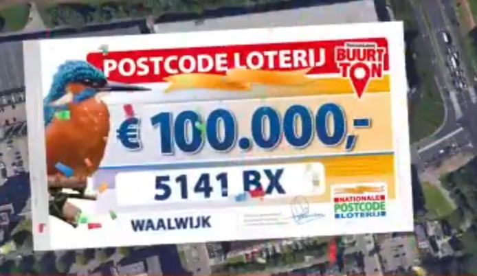 Bewoners van deze postcode in Waalwijk winnen 100.000 euro.