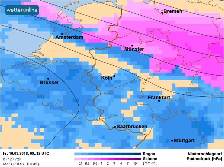 Op vrijdag kan er vooral in het noorden van Nederland al wat winterse neerslag vallen. Elders in de Benelux gaat het nog om regen.