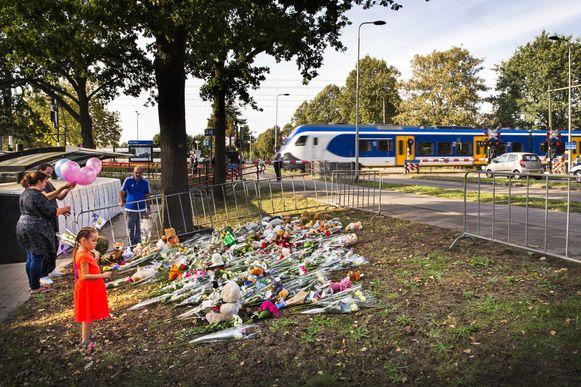 Bloemen bij de overgang in Oss waar gisteren het dramatische ongeval plaatsvond.
