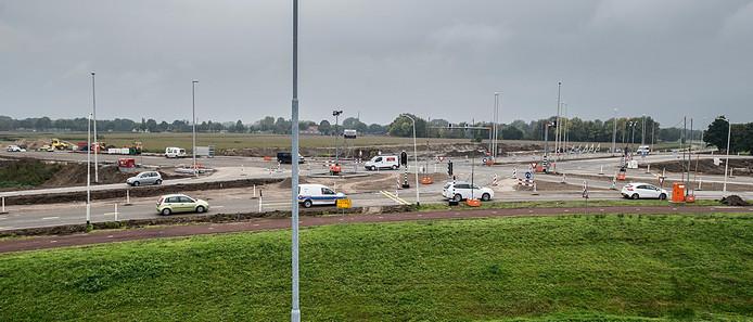 Werkzaamheden aan de nieuwe kruising bij de afrit A27 naar het Breepark in Breda