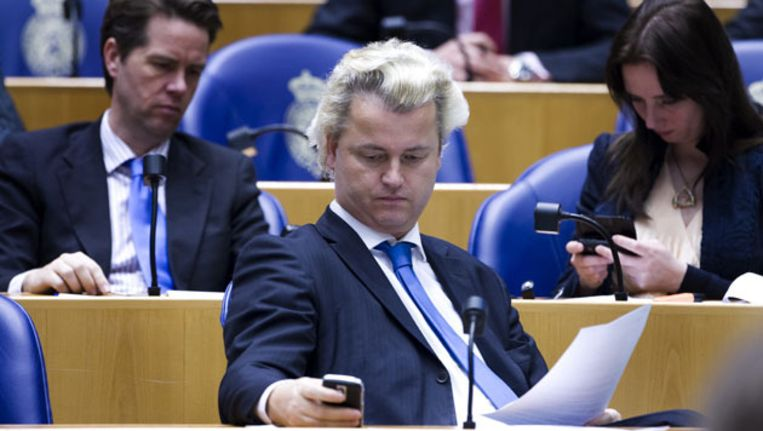 PVV-kamerleden Geert Wilders, Fleur Agema en Martin Bosma in de Tweede Kamer (achiefbeeld). Beeld ANP