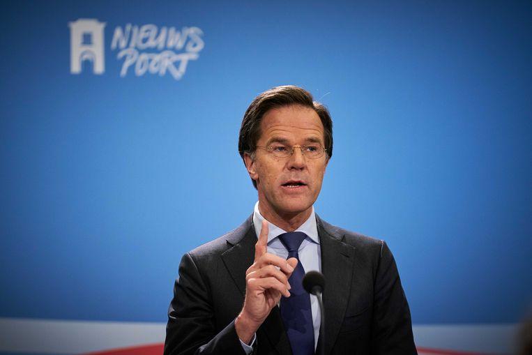 Premier Rutte tijdens de laatste persconferentie over de coronacrisis. Beeld ANP