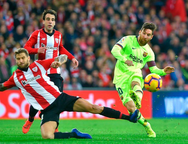 Leo Messi kende een frustrerende avond en zag menig poging afgeblokt door een stug Bilbao.