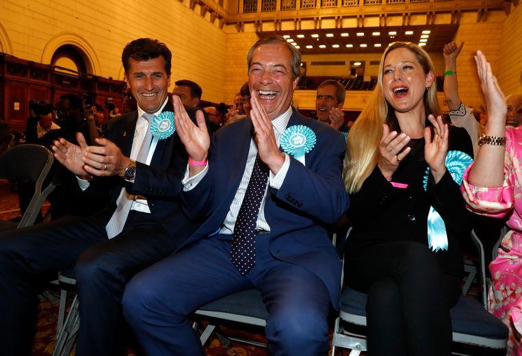 Brexit Party-leader Nigel Farage reageert op de binnenlopende verkiezingsresultaten.