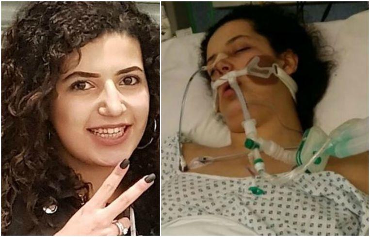 Mariam Moustafa raakte in een coma waar ze niet meer is uit ontwaakt. Haar familie verspreidde de rechtse foto vanop de intensive care .