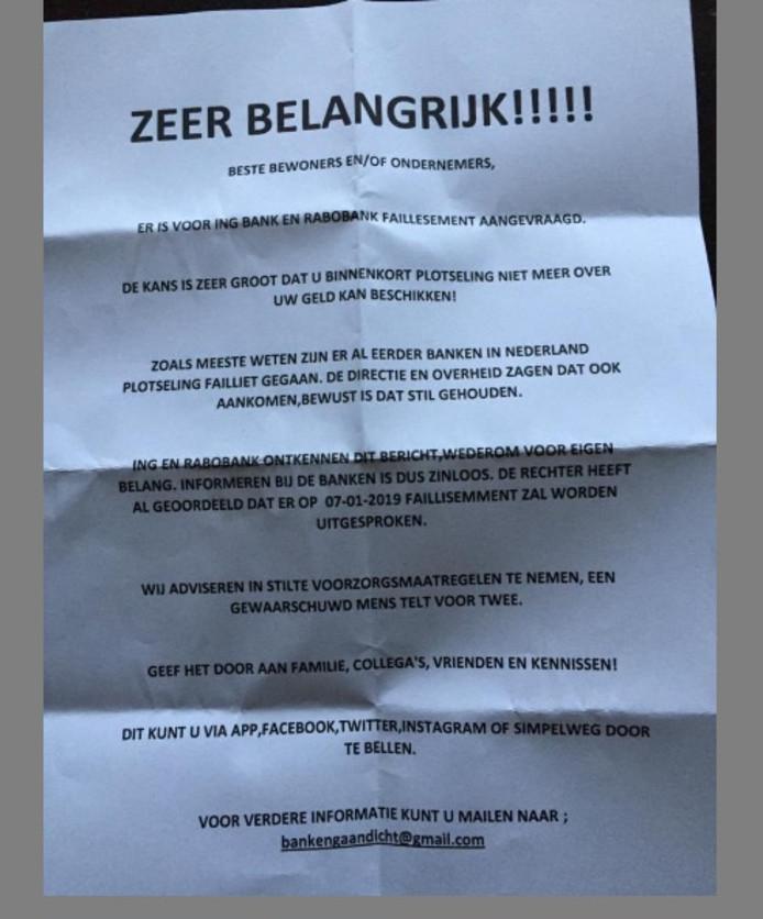 De brief zoals ie op verschillende plekken in Roosendaal bezorgd is.