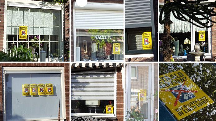 De actieposters voor verschillende ramen in de wijk.